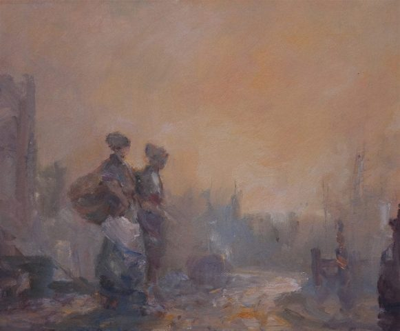 Atmospheric history scene of dock workers by East Yorkshire artist Stewart Taylor
