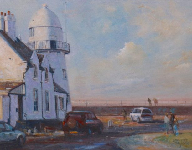 Oil painting of Paull Lighthouse East Yorkshire by Stewart Taylor
