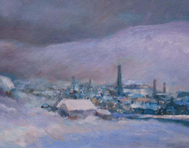 Winter landscape of northern mill town in snow by artist Stewart Taylor
