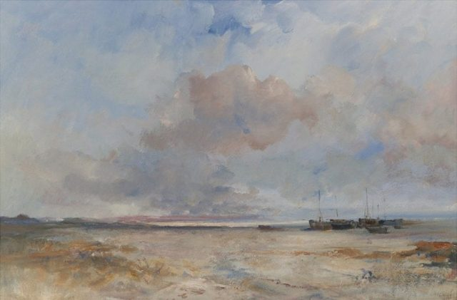 Romantic oil painting of Norfolk beach with boats by East Yorkshire artist Stewart Taylor