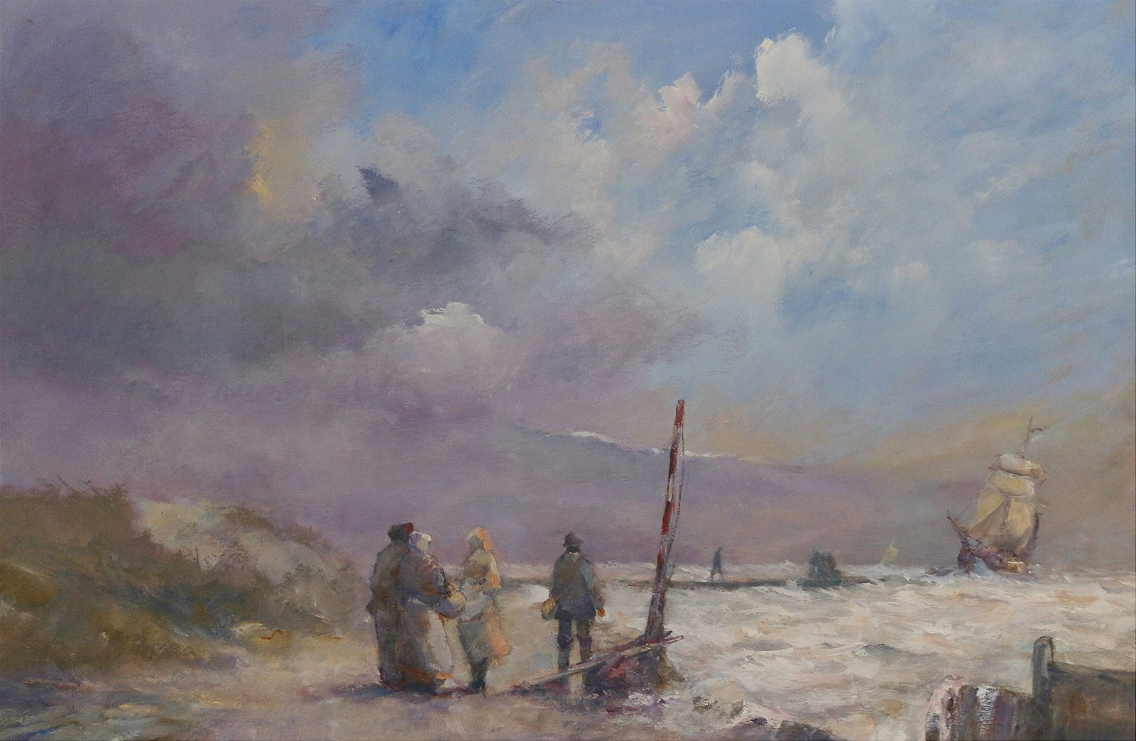 Romantic marine painting of working folk by the sea by Stewart Taylor