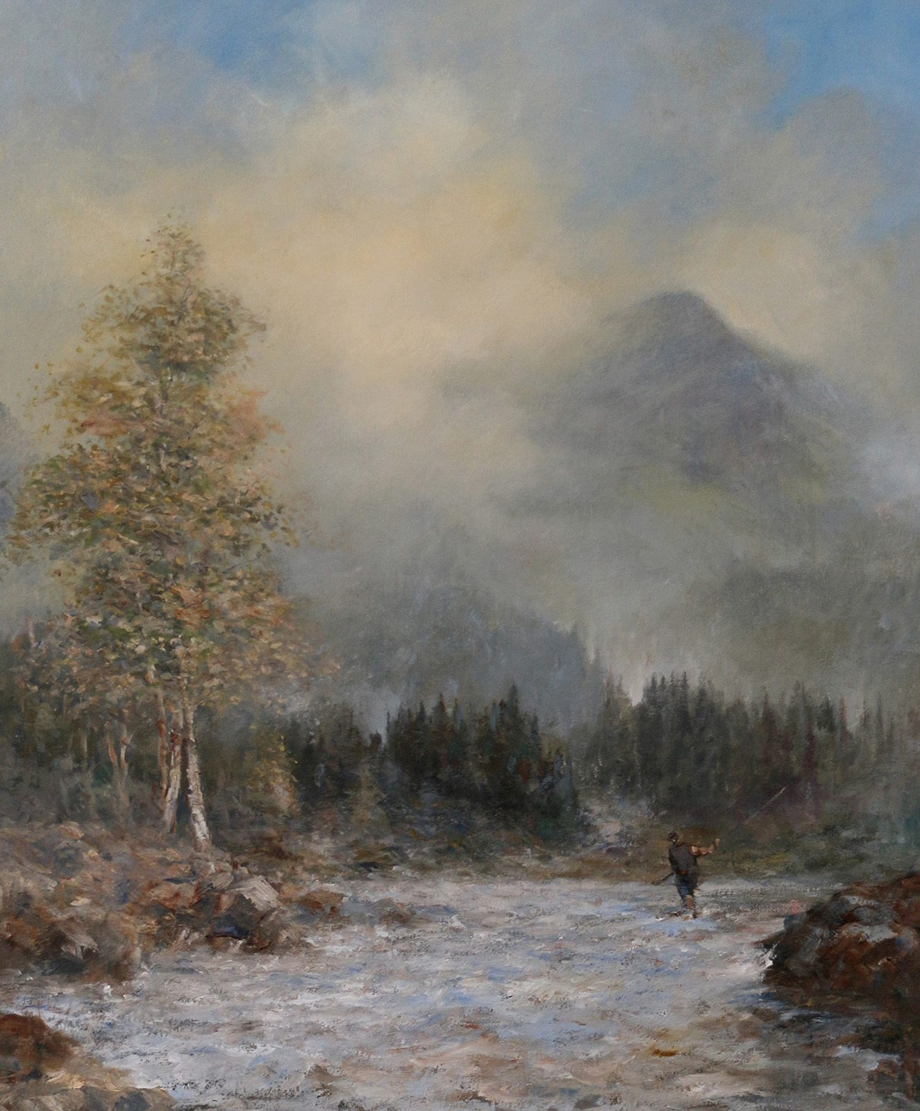 Oil painting of fly fisherman in Scottish landscape by Stewart Taylor