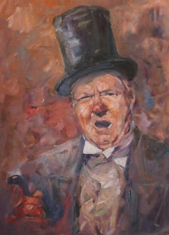 Imagine portrait of Dickens character Wilkins Micawber by artist Stewart Taylor