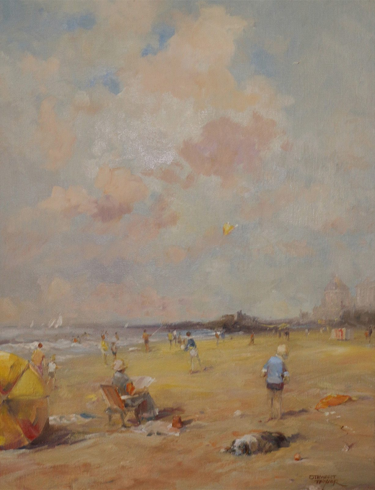 Nostalgic summer beach scene of holidaymakers painted in oils by East Yorkshire artist Stewart Taylor