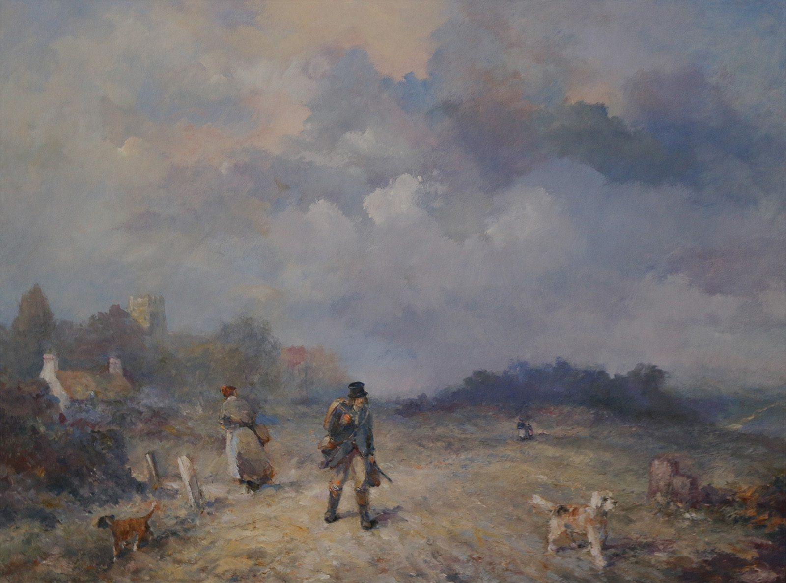 Country scene in oils with hunter and his dog by Stewart Taylor