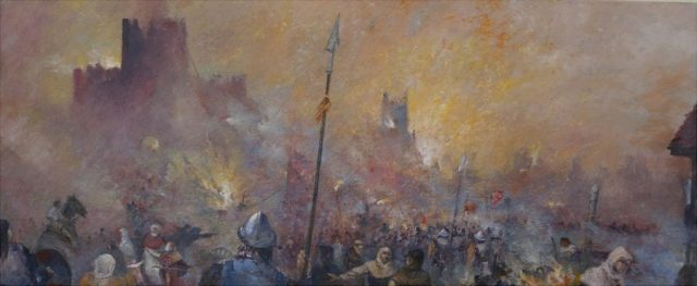 Historial battle scene at Magdeburgh painted in oils by Stewart Taylor
