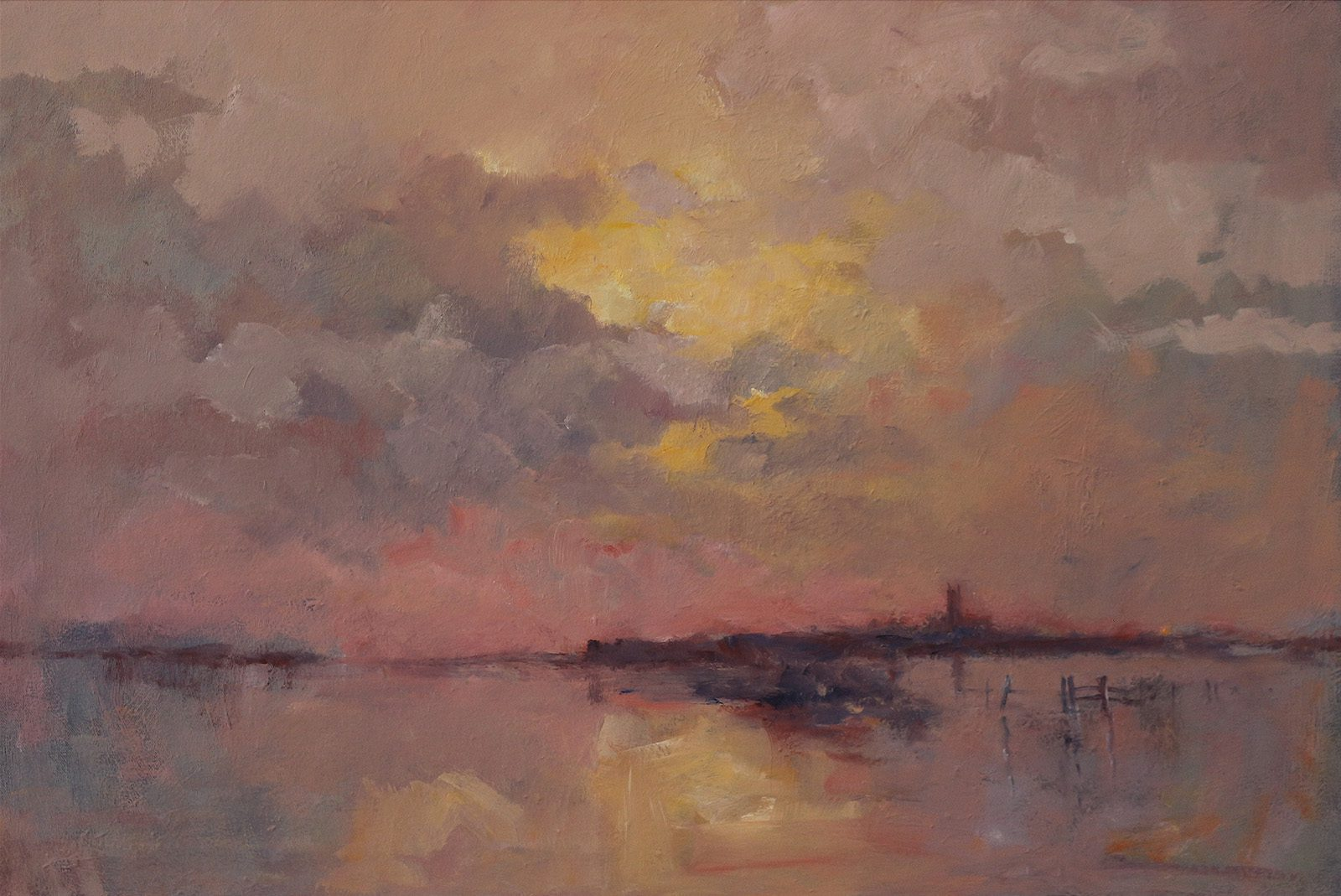 Moody landscape oil painting with the River Derwent with burst banks by Stewart Taylor