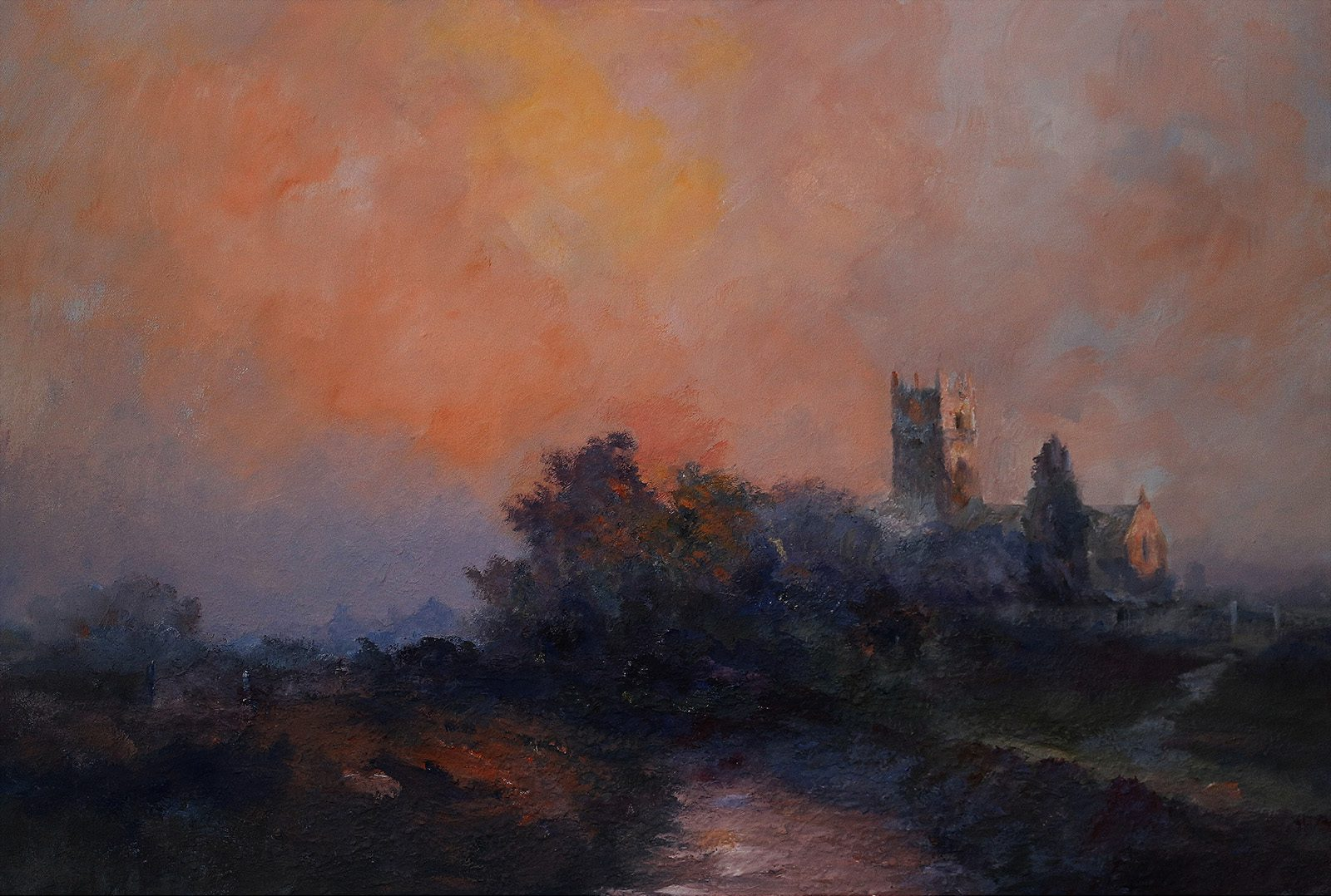 Sunset over Holderness church by East Yorkshire artist Stewart Taylor