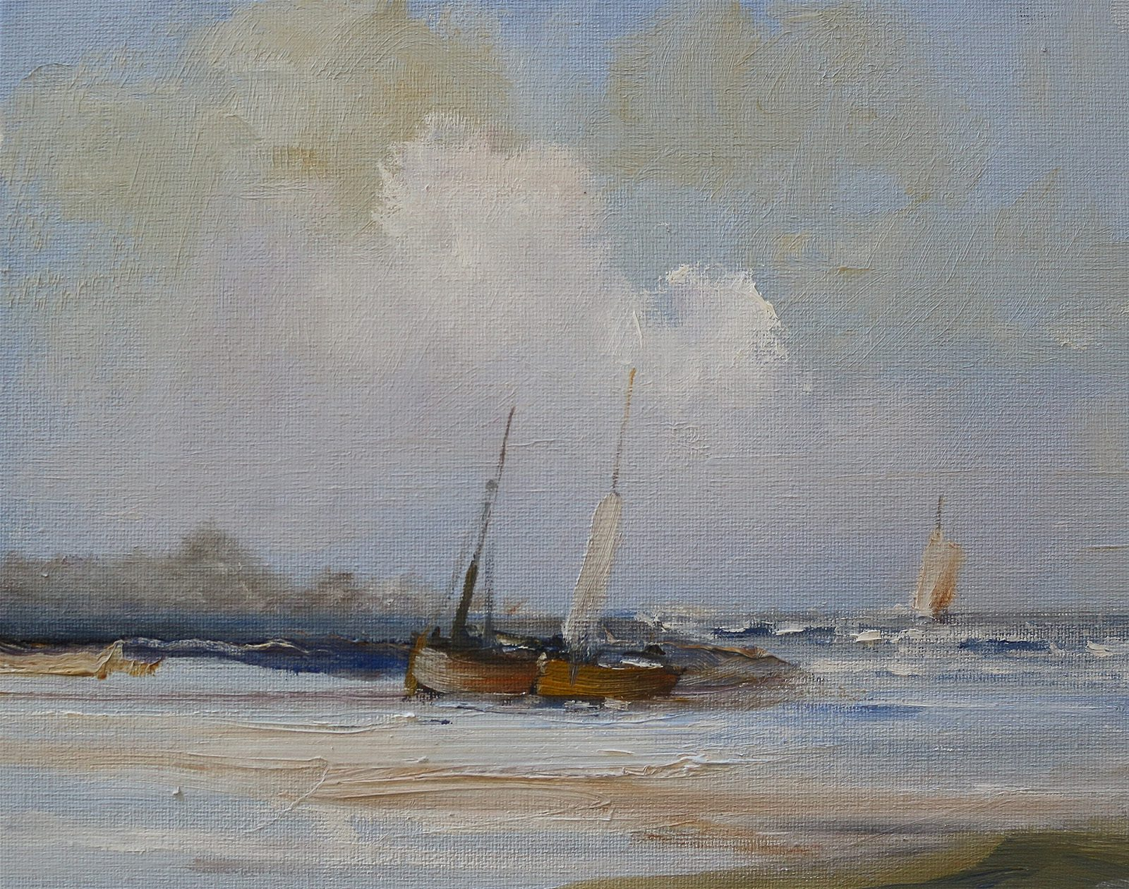 Marine oil painting of small sailing boats by artist Stewart Taylor