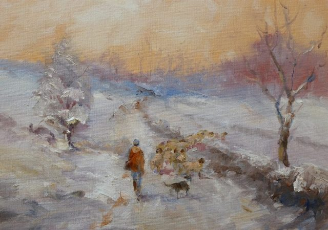 Country scene of shepherd and flock in Winter painted by Stewart Taylor artist