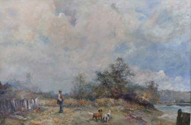 Pastoral scene in oils of country man and his dogs by Stewart Taylor