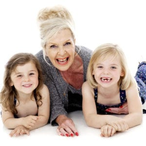 Family portrait photograph with grandma and two girls