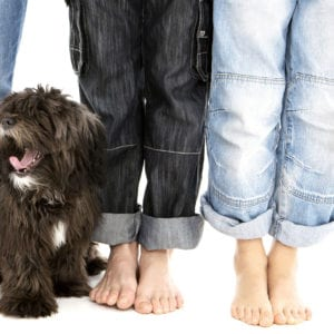 Quirky family portrait photograph with pet dog