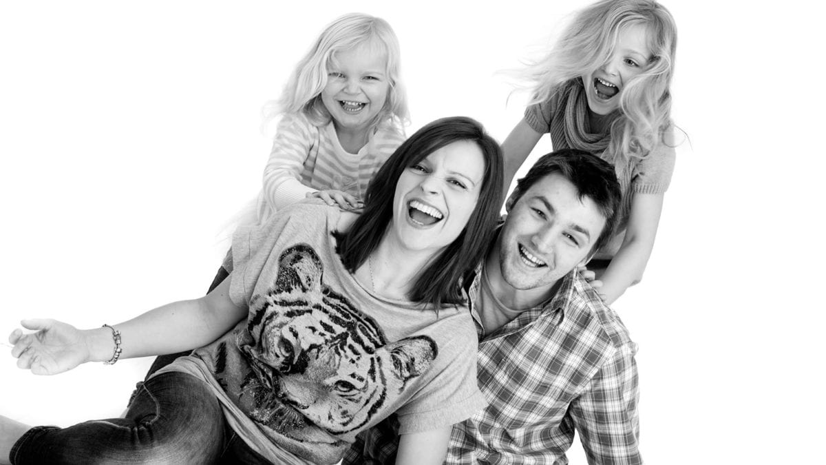 Black and white family portrait photograph