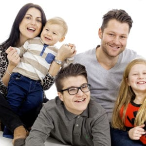 Family having fun during a portrait photography session