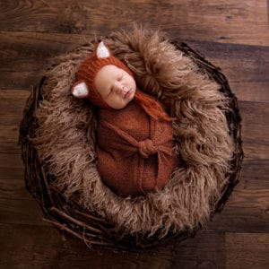 Newborn photographed in cute fox outfit